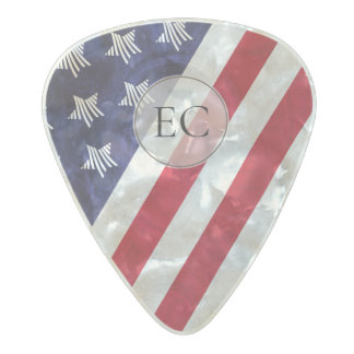 stars stripes red white and blue monogram USA flag Pearl Celluloid Guitar Pick