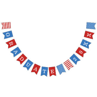 Stars & Stripes Red White Blue Graduate Bunting Flags