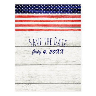 Stars Stripes Rustic Wood Patriotic Save the Date Postcard
