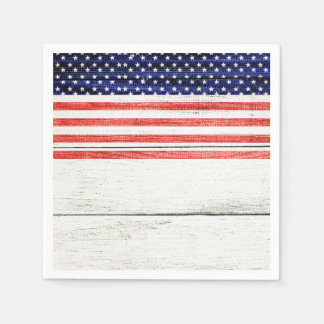 Stars & Stripes White Rustic Wood Patriotic Party Paper Napkins