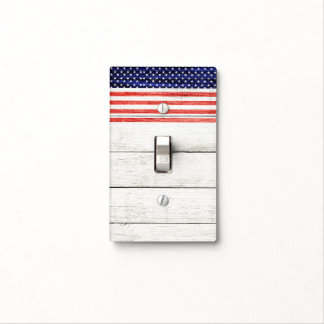 Stars & Stripes White Rustic Wood Patriotic USA Light Switch Cover