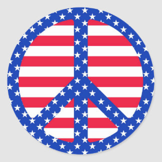 Stars & Striples Peace Symbol Stickers