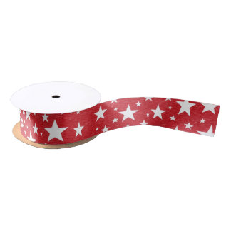 Stars with Red Background Ribbon Satin Ribbon