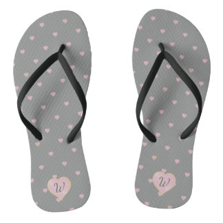 Stars Within Hearts on Gray Flip Flops