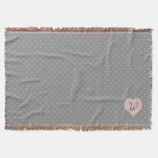 Stars Within Hearts on Gray Throw Blanket