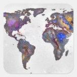 Stars world map square sticker