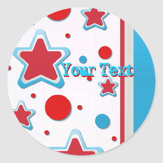 StarsNstripes_ Large, 3 Inch (sheet of 6) Classic Round Sticker