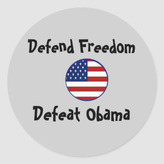 starsnstripesshield, Defend Freedom, Defeat Obama Classic Round Sticker