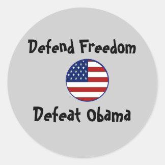 starsnstripesshield, Defend Freedom, Defeat Obama Round Sticker