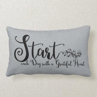 Start Each Day With A Grateful Heart | Quote Art Lumbar Pillow