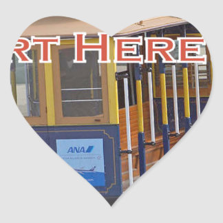 Start Here! San Francisco Cable Cars Trolley Cars Heart Sticker