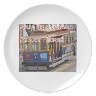Start Here! San Francisco Cable Cars Trolley Cars Plate