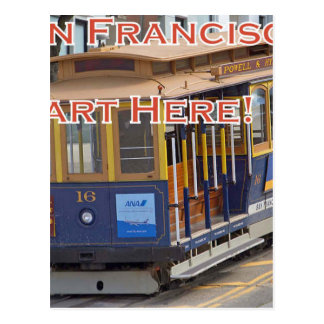 Start Here! San Francisco Cable Cars Trolley Cars Postcard