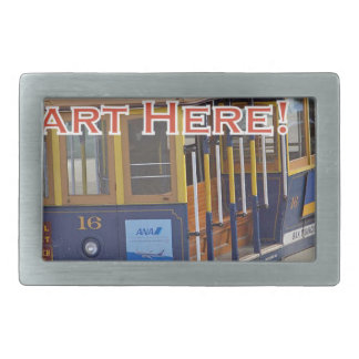 Start Here! San Francisco Cable Cars Trolley Cars Rectangular Belt Buckle