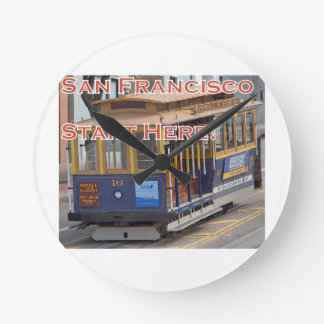 Start Here! San Francisco Cable Cars Trolley Cars Round Clock