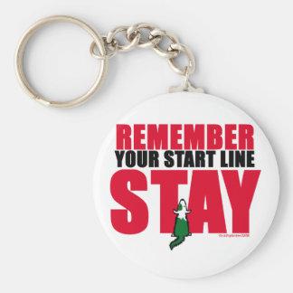 Start Line Stay Basic Round Button Keychain