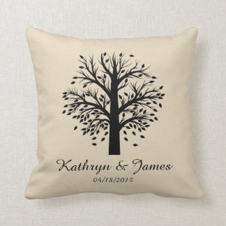 Start of New Family Tree, names/date; black/taupe Throw Pillow