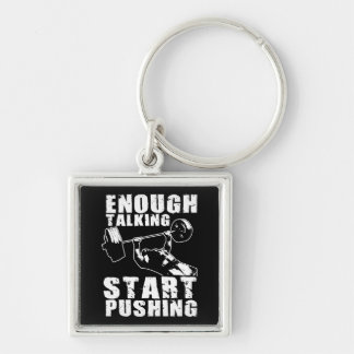 Start Pushing - Bench Press - Workout Motivational Silver-Colored Square Keychain