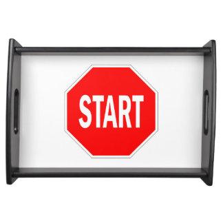 start road traffic sign symbol stop serving tray