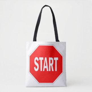 start road traffic sign symbol stop tote bag