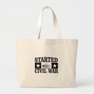 started the civil war fs large tote bag