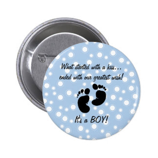 Started With A Kiss Wish Blue Custom 2 Inch Round Button