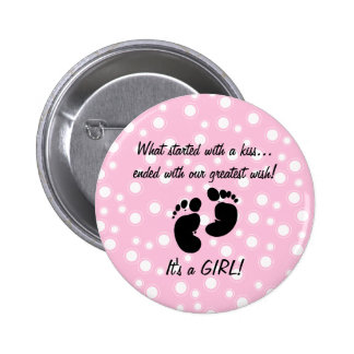 Started With A Kiss Wish Pink Custom 2 Inch Round Button