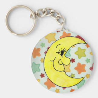 starts and the moon basic round button keychain