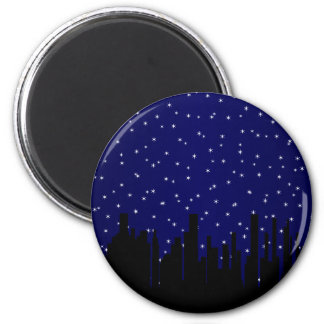 Stary Night Cityscape Magnet