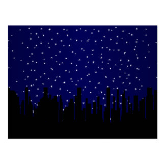 Stary Night Cityscape Postcard
