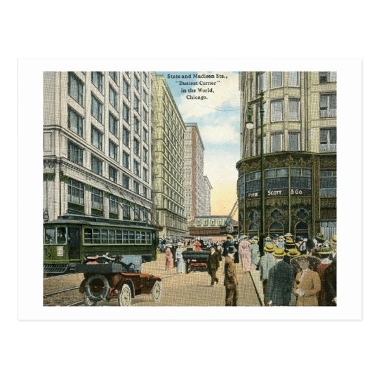 State and Madison Streets, Chicago 1916 Vintage Postcard