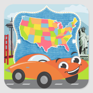 State Bingo and Road Trip US Sticker Set