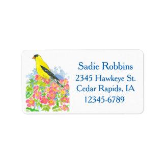 State Bird Iowa Eastern Goldfinch Return Address Label