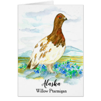 State Bird of Alaska Willow Ptarmigan Blank Card