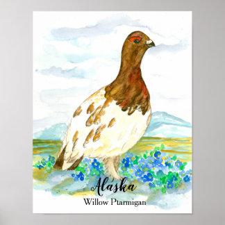 State Bird of Alaska Willow Ptarmigan Poster