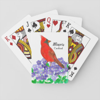 State Bird of Illinois Cardinal Violets Playing Cards