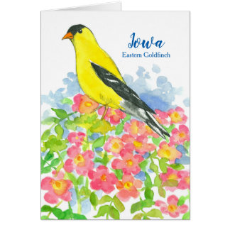 State Bird of Iowa Eastern Goldfinch Roses Blank Card