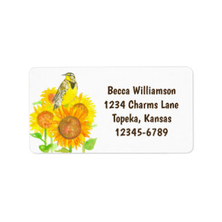 State Bird of Kansas Meadowlark Sunflower Address Label