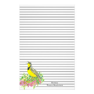 State Bird of Montana Western Meadowlark Lined Stationery