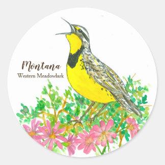 State Bird of Montana Western Meadowlark Songbird Classic Round Sticker