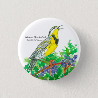 State Bird of Oregon Meadowlark Watercolor 1 Inch Round Button