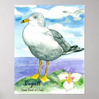 State Bird of Utah Seagull Watercolor Poster