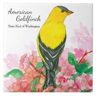 State Bird of Washington American Goldfinch Yellow Tile