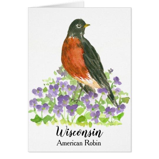 State Bird of Wisconsin American Robin Blank Card