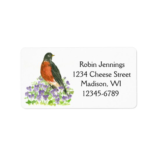 State Bird of Wisconsin Robin Return Address Label