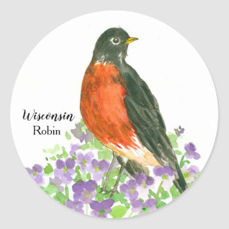 State Bird of Wisconsin Robin Wood Violet Classic Round Sticker
