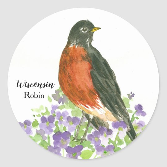 State Bird of Wisconsin Robin Wood Violet Classic Round Sticker