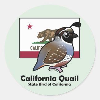 State Birdorable: California Quail Classic Round Sticker