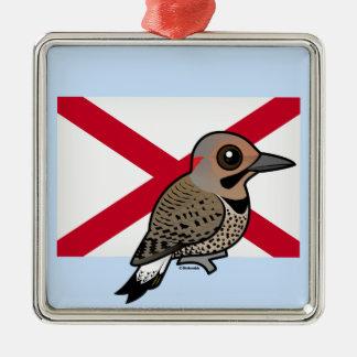 State Birdorable of Alabama: Northern Flicker Silver-Colored Square Ornament