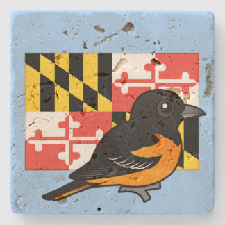 State Birdorable of Maryland: Baltimore Oriole Stone Coaster